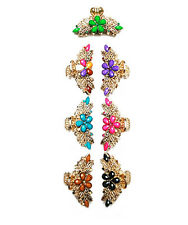 EVE PINK BLUE BLACK PURPLE GREEN MULTI BROWN CRYSTAL ACRYLIC GOLD HAIR CLAW NEW