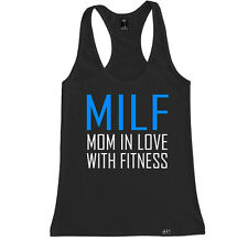 MILF MOM IN LOVE WITH FITNESS WOMEN RACERBACK TANK TOP SHIRT CROSSFIT TRAIN YOGA