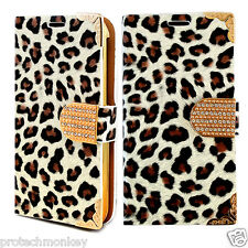 Leopard Print Credit Card Flip Wallet Case PU Leather Diamond Cell Phone Cover