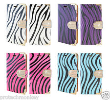 Zebra PU Leather Credit Card Slot Wallet Hybrid Cell Phone Protector Case Cover
