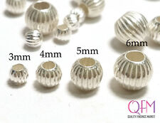 50 pcs Shiny Sterling Silver 925 Spacers Beads sizes 3, 4, 5 and 6mm Grooved