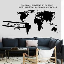 Wall Decal Map Of The World Airplane Quote Some Day I Am Going To Be Free z2842