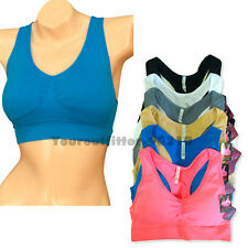 Women's Sports Bra Tank Top Elastic Seamless Exercise Yoga Fitness Padded Vest