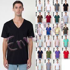 American Apparel 2456 Mens Blank Plain Fine Jersey Short Sleeve V-Neck Tee Shirt