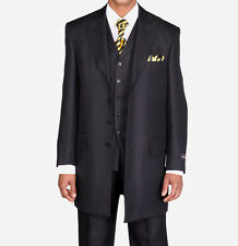 Men's Herring Bone Stripe Zoot Suit w/ Matching Stripe Vest 3106 Black