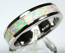White Fire Opal Inlay 925 Sterling Silver Eternity Band Men's, Woman Ring 6-11