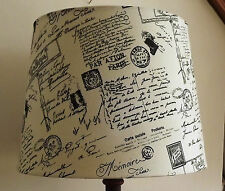 Vintage Script Postcard lampshade shabby chic handmade post mark black white
