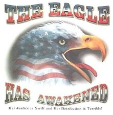 NEW! THE EAGLE HAS AWAKENED American Bald Patriotic USA Flag Unisex T-Shirt M-2X