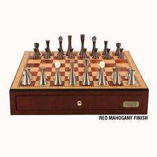 """Contemporary Pewter Chess Set with Drawers 18"""" - Dal Rossi Italy"""