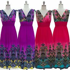 NWT JON & ANNA Paisley Print V-Neck Smocked Long Maxi Summer Dress Beach