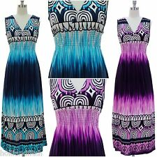 NWT JON & ANNA Ethnic Tribal Ombre Print Surplice Smocked Long Maxi Summer Dress