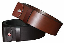 "100 % FULL GRAIN LEATHER BELTS -SNAP ON - 1.5"" WIDE - ALL SIZES- WITHOUT BUCKLE"