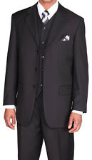 Men's Luxurious Wool Feel Three Button Suit w/ Vest 5802V Solid Size 38R - 56L