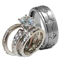 His & Hers Brilliant Cut Cz Wedding Ring Set Band Sterling Silver & Titanium