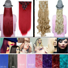 Popular 8piece Clip in Hair Extensions Full Head Halloween party pink red purple