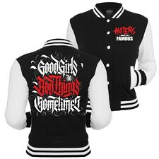 Frauen College Jacke Baseballjacke Good Girls do Bad Things SOMETIMES Sprüche