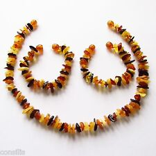 Genuine Baltic amber teething necklace and anklet/bracelet, multicolour nuggets