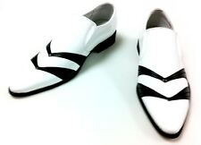 Gucciani | EUR 40-46 | White with V-stripe Lace up BROGUES | Synthentic Shoes