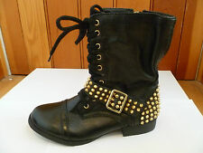STEVE MADDEN BLACK LACE UP BRASS STUDDED LEATHER COMBAT BOOTS 4 37 NEW