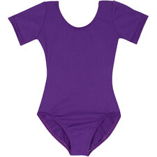 PURPLE Short Sleeve Leotard for Toddler & Girls