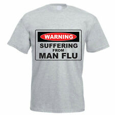 WARNING SUFFERING FROM MAN FLU - Novelty / Funny / Gift Themed Mens T-Shirt