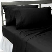 1000TC 100% EGYPTIAN COTTON 4PC SHEET SET ALL US  SIZE AVAILABLE SOLID BLACK
