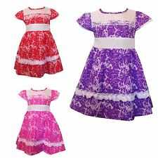New Girls LOVELY Dress /Summer Party Tunic  Short sleeves Roses Top 3-12yrs #91