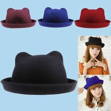 Vintage Fashion Womens Wool Fedora Bowler Hat Cat Ears Derby Cap Cloche New