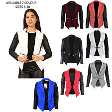 Women Ladies Quilted PU Leather Look Long Sleeve Zip Waterfall Blazer Jacket Top