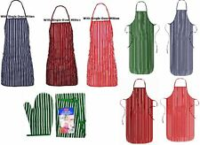 Striped Apron Double Oven Mitten Cotton Butcher Lined Cooking Kitchen Cook Chef