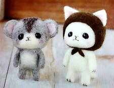 Hamanaka - Japanese Wool Needle Craft Felting KIT Mouse hamster+ White Cat Kitty