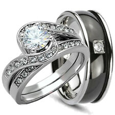 3PCS HIS HERS TITANIUM & STERLING SILVER 925 WEDDING BRIDAL MATCHING RING SET CZ