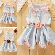 Baby Girl Kids Outfit Clothes Tops Denim Dress Skirt with Belt For Toddler ESY1