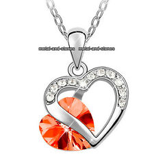 Unique Crystal Diamond Necklace Romantic Heart Love Gift For Her Wife Mum Girl
