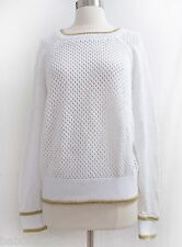 Juicy Couture Golden Trim Mesh Sweater Pullover 100% Cotton NWT S, M