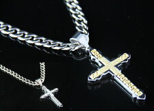 Men Stainless Steel Cuban Curb Necklace Chain Silver Gold Greek Cross Pendant