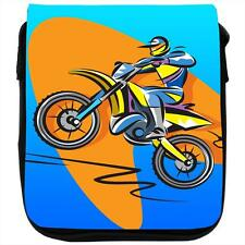 Motocross Racer Riding a Motorcycle Black Shoulder Bag