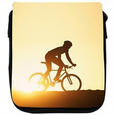 Silhouette of Man Riding Mountain Bike at Sunset Black Shoulder Bag