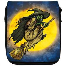 Cackling Witch Riding Broomstick Full Moon Black Shoulder Bag