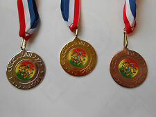 MENS ATHLETICS MEDALS - 50 MM METAL - WITH RD/WHT/BL RIBBON-CHOOSE COLOUR-DWL