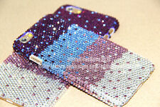 New Bling Tri Purple Swarovski Element Crystal Case Cover For iPhone 6/6Plus/5S