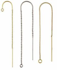 14K Solid White or Yellow Gold Ear Threads U-Threader Drop Chain w/Ring 25pc LOT