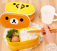 New Bear Plastic Double Layers Chopsticks Bento Lunch Box Food Storage Container