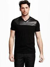 GUESS Men's Prio Faux-Leather Tee