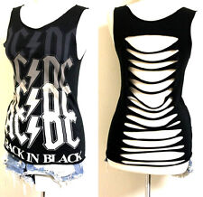 AC/DC Cut Out Back Tank Tops Made by Julia