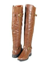 Drk Tan Med Brown Urban Style Stretch Calf Over the Knee Thigh High Flat Boots