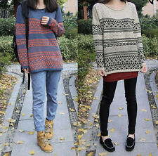 PZF Women Knitted Bop Batwing Geometric Casual Loose Pullover Sweater Outwear