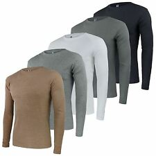 MENS RIBBED COTTON TOP ROUND NECK LONG SLEEVE JERSEY T-SHIRT SIZE S-XL