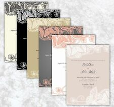 100 Personalized Lace Custom vintage Rustic Wedding Invitations Set many colors