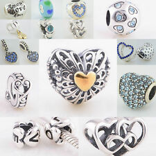Sterling Silver 925 European Charm I Love You Blue Hearts Bead
